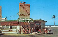 Miami Beach FL Scotty's Car Hops Drive-In Restaurant Old Car Postcard