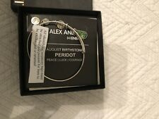 Alex & Ani August Peridot Birthstone Expand Bracelet Silver Peace Luck Courage