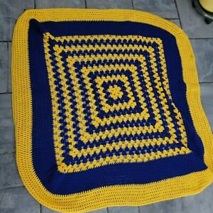 Hand Made Crocheted Blue and Yellow Granny Square Throw Blanket Size 24 x 27