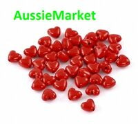 50 x red love heart beads polished acrylic 11mm x 10mm jewellery valentine's day