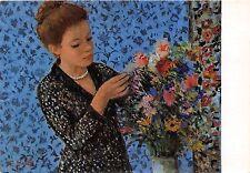 B62546 art reproduction Francois Gall La Dame au Bouquet  painting postcard