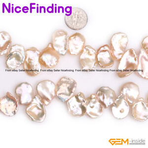 """Natural Top Drilled Coin Freshwater Keshi Pearls Stone Beads Jewelry Making 15"""""""