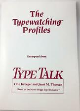 'The Typewatching (Personaility) Profiles' Otto Kroeger Janet Thuesen Type Talk