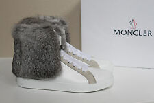 New sz 9 US / 39 Moncler White Leather Lucienne Rabbit Fur high top Sneaker Shoe