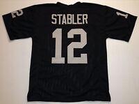 UNSIGNED CUSTOM Sewn Stitched Ken Stabler Black Jersey - M, L, XL, 2XL