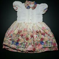 UFO Girls Dress Size 6 White Pleated Top Flower Print Skirt Collar Buttons Flowy