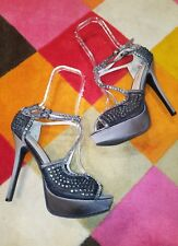ZIGI SOHO STUNNER GREY SILVER BEJEWELED MESH STILETTO OPEN TOE HIGH HEEL SIZE 10