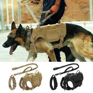 Military Tactical Dog Harness & Collar & Leash Set Mesh Pet Molle Training Vest