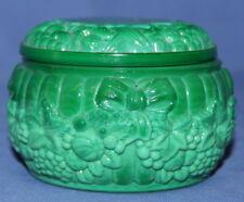 Vintage Jade Green Glass Floral Trinket Box