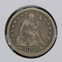 1854 25c SEATED LIBERTY QUARTER WITH ARROWS, NICE ORIGINAL COIN LOT#N476