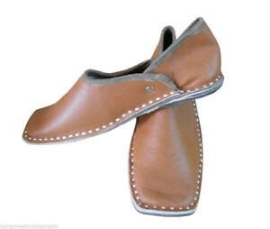 Traditional Handmade Men Shoes Brown Leather Juti Flip-Flops Flat US 8-10
