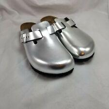 Birkenstock Boston Women's Metallic Silver Size 7 Narrow EU 38 Leather Clogs