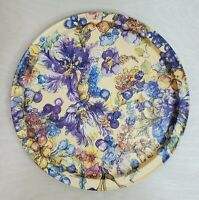 """Serving Tray Floral Flowers 13.5"""" Round Purple Beige Yellow Gold Elegance"""