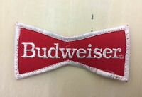 BUDWEISER - Vtg 70s-80s Red & White Bow Tie Patch - Hat, Jacket, Shirt - NICE!