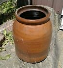 Antique Brown Stoneware Canning Crock 1860s Era with Dark Stripe