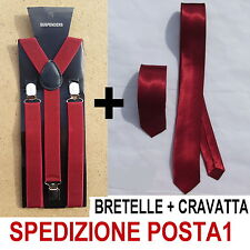 BRETELLE + CRAVATTA SLIM 5cm UOMO ADULTO REGOLABILI CRAVATTINO BORDEAUX BORDO'