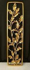 """Holly Floral 23"""" Vintage 60's Syroco Gold Ornate Plaque Wall Art Hanging"""