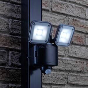 Auraglow Twin Lamp LED Flood Security Light Battery Powered PIR Motion Sensor