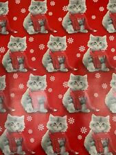 """Vintage Christmas Gift Wrapping Paper Kittens 36"""" x 40"""""""