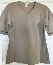 Vintage Dries Van Noten Belgium 100% Cotton S XS Beige Khaki V-Neck Short Sleeve