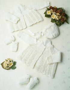 Baby DK Knitting Pattern Matinee Cardigan and Bonnet Sizes 12- 20  inches #62
