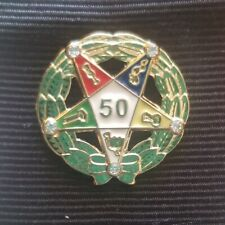 ORDER OF EASTERN STAR 50 YEAR SERVICE AWARD lapel pin gold