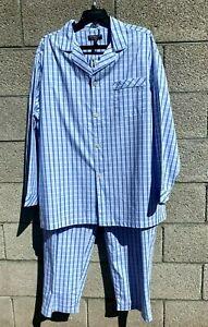 Roundtree & Yorke 2 Piece Pajama Set Mens Big & Tall XLT Tall Blue Plaid NWT $70