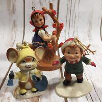 Vintage Christmas Tree Ornaments Girl Mouse Boy Skating Lot of 3