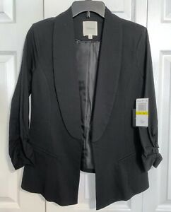 NWT TAKARA Black 3/4 Cinched Ruched Sleeve Formal Work Open Blazer Jacket Sz M
