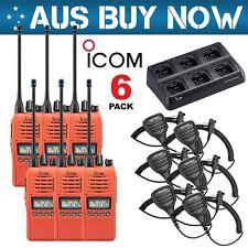 (6) RED ICOM IC-41PRO UHF CB TWO WAY RADIO + BC214 6 WAY CHARGER + SPEAKER MIC