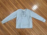 MICHAEL KORS Women's Gray Drawstring Neck Top Blouse Size L