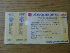 31/08/2002 Ticket: Leeds United v Gillingham (Gold Colour, Complete). No obvious
