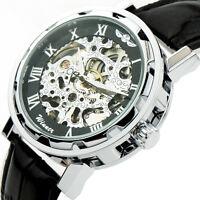 NEU Skelettuhr Herrenuhr Halb Automatik Mechanische Uhr Armbanduhr Geschenk