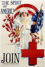 Red Cross Nurse Spirit of America Patriotic Wartime Advertisement Poster Print