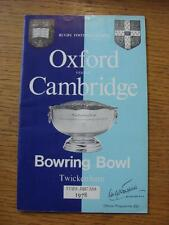12/12/1978 Rugby Union Programme: Oxford University v Cambridge University [At T