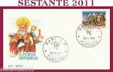 ITALIA FDC ROMA 1972 S. PETRUS DAMIANUS  ANNULLO BARI G336
