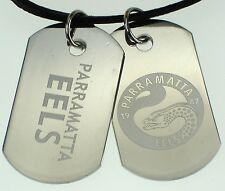 PARRAMATTA EELS NRL LOGO MENS DOUBLE DOG TAG S/S LEATHER NECKLACE JEWELLERY
