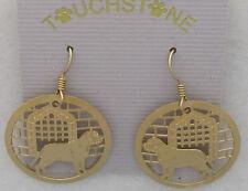 English Mastiff Jewelry Gold Dangle Earrings