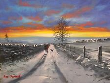 Pete Rumney Art Painting Together Forever Winter Scene Countryside Walks NR