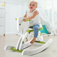 Kids White Pony Green Star Print Wooden Rocking Horse Toys Baby Ride On Rockers+