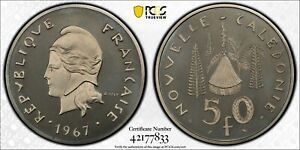 1967 New Caledonia 50 Franc PCGS SP68 Nickel Piefort KM-P3