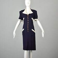 Chanel Nautical Shift Dress Red White Blue Preppy Short Sleeve Logo Buttons