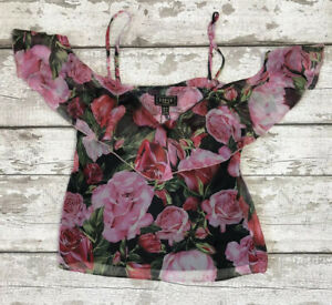 LIPSY LONDON Size 10 New Pink Floral Strappy Top Blouse Summer Night Out