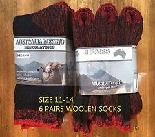 6 Pairs 11-14 Heavy Duty Australian Merino Extra Thick Wool Work Socks Black/red