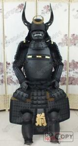 Japanese Iron & Silk wearable Black Horn helmet Rüstung Samurai Armor suit