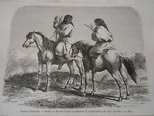 Amérique du Nord Indiens Comanches  Gravure 1876