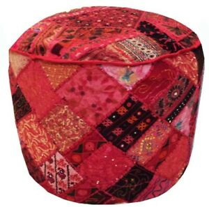 Pouf Ottoman Saree Pouffe Foot stool Round Decorative Poof Floor Pillow Cover