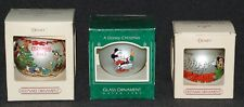 Disney 1980's Hallmark Mickey Mouse & Friends Glass x3 Ornaments