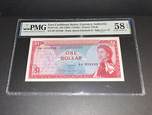 PMG East Caribbean States, Currency Authority $1 Banknote ND(1965) p13a AU/EPQ