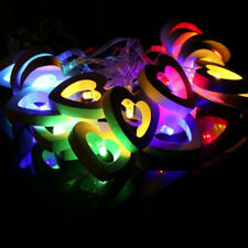 Wooden Heart 10 LED String Lamp Fairy Lights Wedding Party Hanging Decor DIY